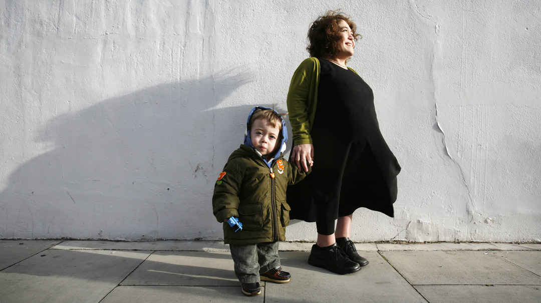 Emma with her son, Archie. Photograph: David Levene