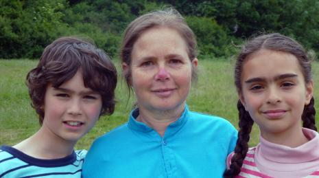 The author with her two children.
