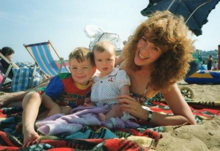 Kim with her children