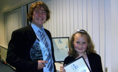 Josh and Rebekah with their Young Carers of the Year award